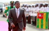 Arrivée du Chef de l'État Faure Gnassingbé pour la cérémonie de dévoilement des fresques -Le chemin de la Paix- sur les murs de l'aéroport International de Lomé